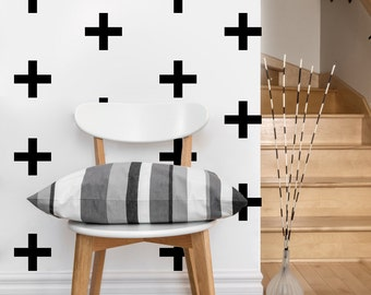 Plus, Cross Pattern | Vinyl Wall Sticker,  Decal Art | Set of 50 Plus, Cross, 4-inch wide