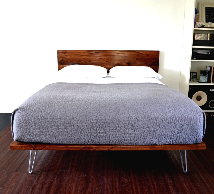 Platform Bed With Headboard On Hairpin Legs By Casanovahome
