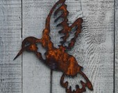 Hummingbird Garden Stake Rusty Metal Art Garden Decor