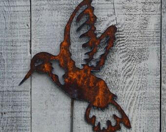 Hummingbird Garden Stake Rusty Metal Art Garden Decor