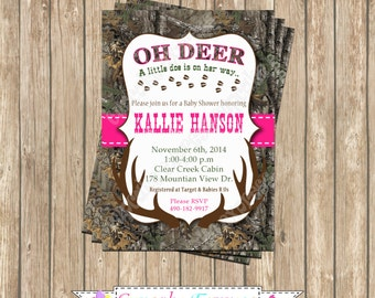 Camo Girl baby shower deer Hunting camouflage Birthday Party  PRINTABLE Invitation 5x7  Hot pink realtree doe