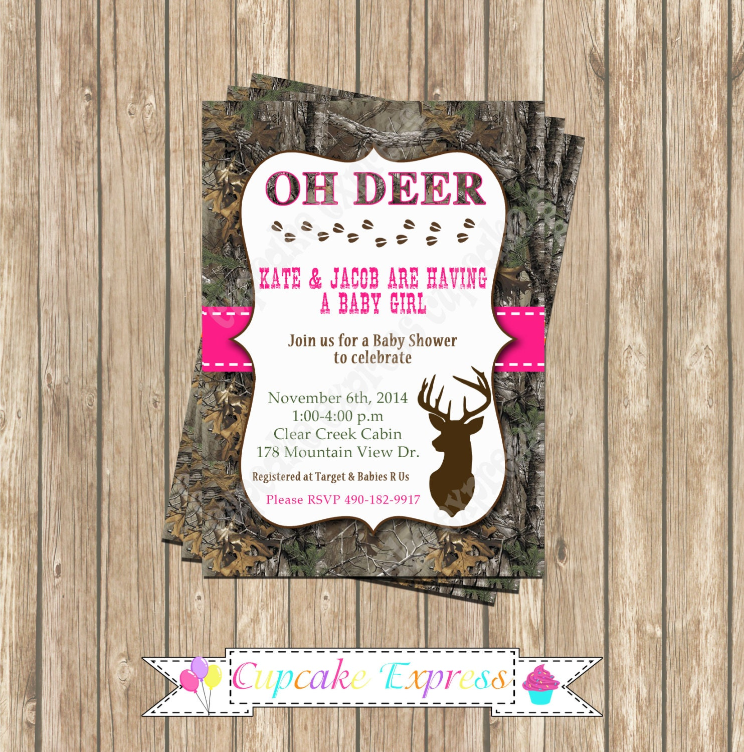 Camo Girl baby shower deer Hunting camouflage Birthday Party