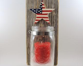 wall hanging, mason jar, upcycled cedar, american flag, star, candle
