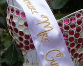 Metallic Embroidered Bridal Sash Personalized