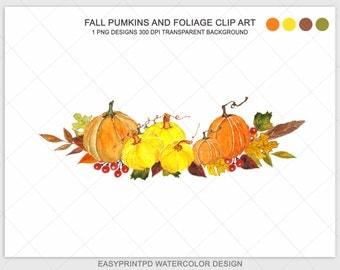 Pumpking Clip Art, Watercolor Pumpkins Clipart, Autumn Clipart, Digital Watercolor, Fall Harvest Garden Clip Art, Halloween Digital Clip Art