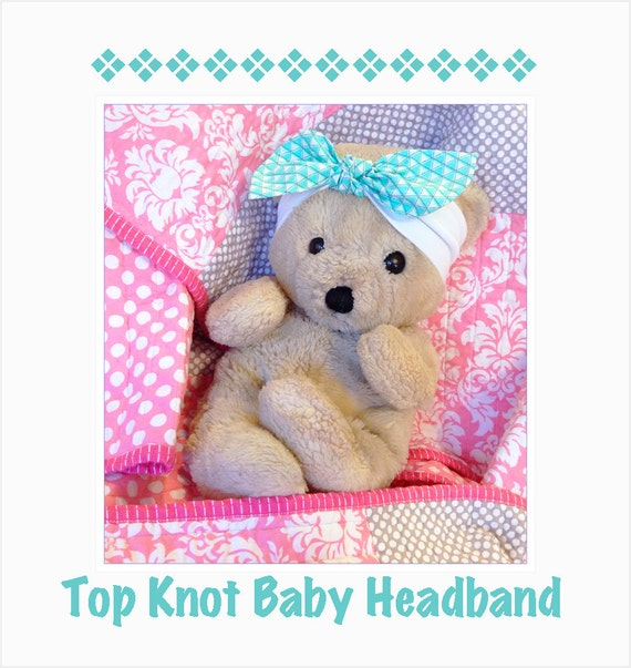Top Knot Baby Headband - White Jersey Knit - Pick 3 Fabric Bows - Baby Knit Headwrap -  Photo Prop for Girls - Toddler Summer Bow Headband