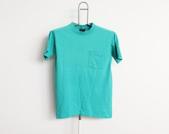 Aqua Plain Pocket Altuf T Shirt Mens Small Unisex Womens 80s Vintage Made In USA Green Blue Sea Foam