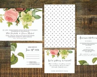 Garden Wedding Invitation Suite (Set of 25) | Floral Wedding Invitation, Wedding Invitation Set, Wedding Invite, Custom Wedding Invitation