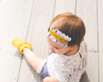 Mustard Yellow Rosette and Gray Ruffle Navy Headband