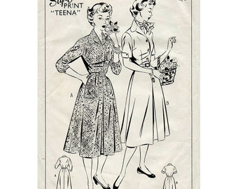 1950s Shirtwaist Dress Pattern Style 632 Vintage Sewing Pattern Front Buttoned Rockabilly Day Dress Bust 34