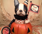Folk Art One of a kind Pumpkin French Bulldog dog Halloween vintage style Primitive  HAFAIR Penny Grotz