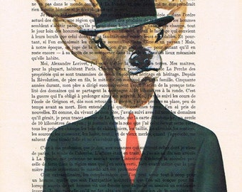English Deer with bowler hat Print Phone Print Illustration Acrylic Painting Animal Painting  Decor Wall hanging Wall Art gift for men man