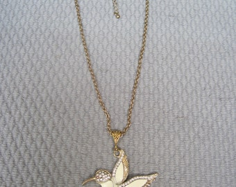 Neutral Enameled Hummingbird with Faceted Clear Crystal Pendant on Generous Gold Tone Chain