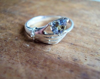 Lucky Lady - Genuine Bi-Color Sapphire & White Topaz Ring -925 Sterling Silver Ring - Victorian Hand Engagement Ring - Pear Cut Wedding Ring