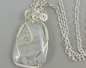 Wire Wrapped Agate Necklace, Ochoco Pearl Agate Gemstone Necklace, Agate Jewelry, Wire Wrapped Jewelry