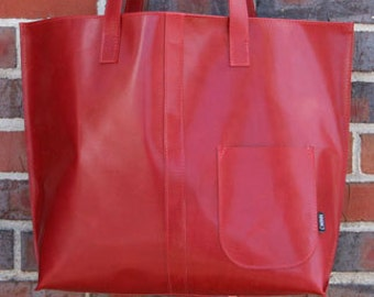 Bright Red tote bag-large tote bag-tote bag-unique-mother's day gift-ready to ship-upcycled-cwinn-hand bag-couture-valentine's gift-red