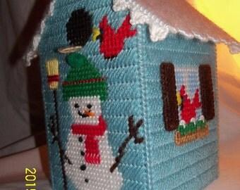 Snowman And Cardinal Birds Tissue Box Cover