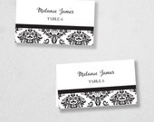 Printable Place Card Template - INSTANT DOWNLOAD - Escort Card - For Word and Pages - Mac and PC - Flat or Folded - Damask