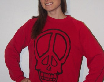 Peace sign skull vintage sweater