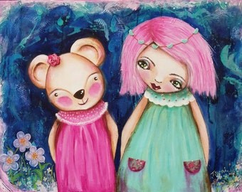 Green,blue and pink  original mixed media painting.Large painting. Whimsical painting .I'm Beside you.. Beatrice and Imogen. Children's art