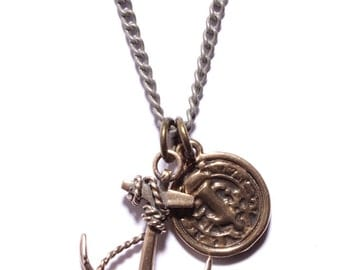 Anchor necklace for men. Anchor and medal pendant for Men. Guardian necklace for men in bronze with silver chain.