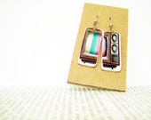 TV earrings, paper earrings, old TV earrings, television earrings, television jewelry, paper jewelry, vintage TV, 90s earrings, quirky funky