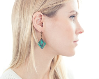 Green and Brown Patina Geometric Layered Earrings - SALE
