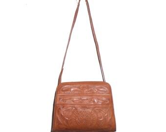 1970's Brown Tooled Leather Purse Shoulder Bag Handbag