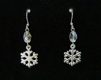 White Snowflake Charm Holiday Earrings, Silver Plated French Hook Dangle Earrings, Christmas Earrings, Snowflake Earrings