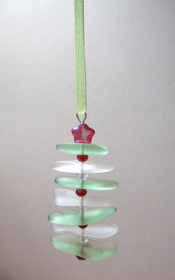Recycled sea glass christmas tree ornament red white