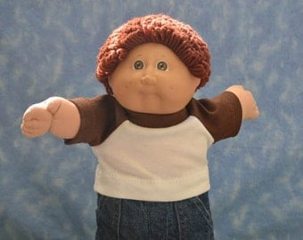 "Cabbage Patch Clothes - T-Shirt for 16"" to 18"" Boy Dolls - Brown and White - Handmade"