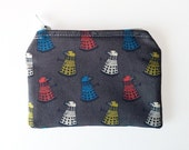 Dalek Pattern Doctor Who Grey Red Cotton Coin Purse Zippered Pouch