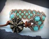 Bohemian Crochet Cuff Bracelet, Ocean Opal Blue, Beach Boho Chic