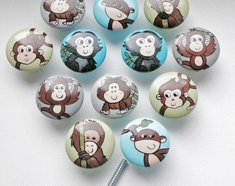 Monkeying Around Drawer Pulls / Dresser Knobs / Closet Handles / Hand Painted for Boys, Girls, Nursery Rooms