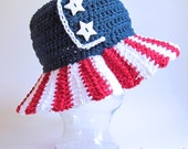 CROCHET PATTERN - Stars & Stripes - American flag hat pattern, 4th of July hat, sun hat in 4 sizes (Toddler - Adult) - Instant PDF Download