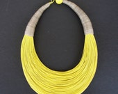Statement Fiber Necklace,  African Necklace, Trending Necklace, Bold Necklace,Yellow necklace