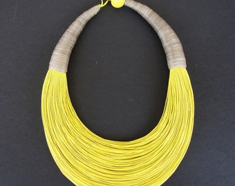 Statement Fiber Necklace,  African Necklace, Trending Necklace, Bold Necklace,Yellow necklace