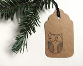 8 Owl Gift Tags, Kraft, Party Favor Tags, Prestrung, Woodland, Rustic, Neutral