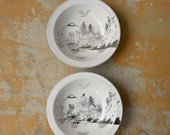 Pair Kutani Bowls, Vintage Hand Painted Japan China, White and Silver Platinum Village Scene