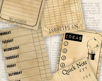 Journal Cards printable 3x4 inch journal cards paper crafting junk journal scrapbooking digital download collage sheet - VDJCVI1088