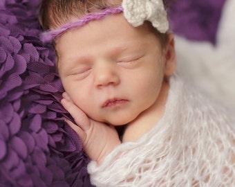 Newborn Headband, Newborn Halo, Newborn Photo Prop, Girl Photo Prop, Headband With Bow,Tie Back Headband, Baby Headband, Fuzzy Yarn Headband