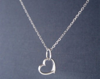 Float Heart Necklace, Small Heart Charm Necklace, SIlver Heart Charm Necklace