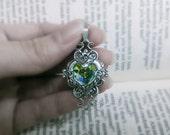Valkyrie's Heart Swarovski Crystal Silver Bridal Bridesmaid Pendant - Aurora Borealis
