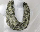 Infinity Scarf Green and Grey Camouflage Single Loop Scarf with Gold Sprakle for Women Handmade by Thimbledoodle
