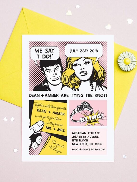 The Comic Strip Fun Printable Wedding Invitation