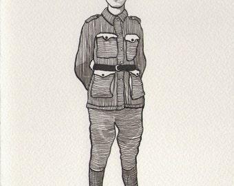 Hand Drawn WW1 Australian Soldier in White Frame