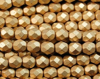 Matte Metallic Flax Gold Czech Glass Firepolished 6mm Beads -25