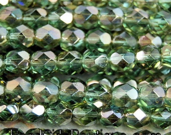Prairie Green Celsian Czech Faceted Glass Bead 6mm Round - 25 Pc