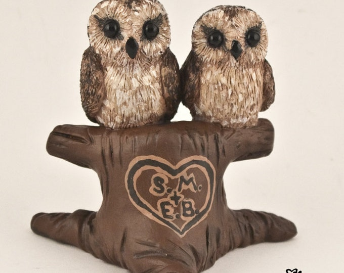 Owls in Love Wedding Cake Topper