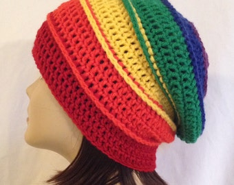 """long slouch,ribbed beanie,rainbow hat,unisex fits teens and adults 21-23"""" inches"""